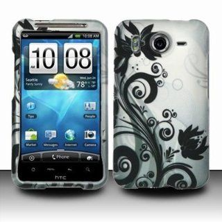For AT&T HTC One X Elite Accessory   Black Flower Design Hard Case Protector Cover + Lf Stylus Pen Cell Phones & Accessories
