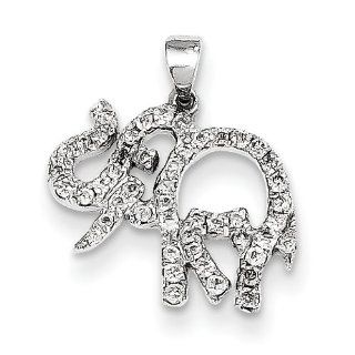 14k White Gold Diamond Elephant Pendant, Best Quality Free Gift Box Satisfaction Guaranteed Pendant Necklaces Jewelry