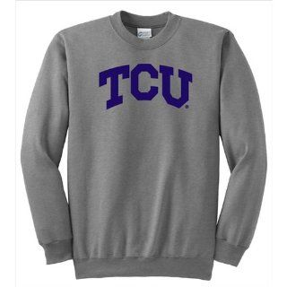 BSP 10881 Texas Christian Horned Frogs NCAA Arch Solid Logo Grey Crewneck Sweatshirt  Sports Related Merchandise  Sports & Outdoors