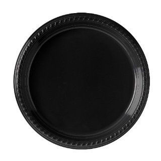 "Solo PS15E 0099 Polystyrene Plastic Medium Weight Party Dinnerware Plate, 10 19/64"" Diameter x 51/64"" Height, Black (Case of 500)"