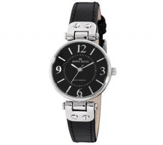 Anne Klein Womens Black Leather Strap Watch —