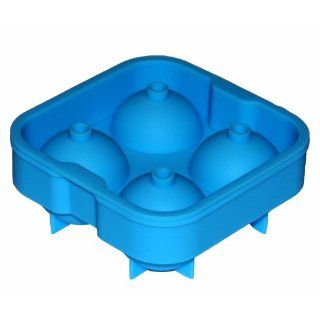 "**SALE** Top Quality Ice Ball Tray   4""x2"" Silicone Tray makes 4 Large Ice Balls. The Super Flexible Silicone Mold makes for Easy Ice Removal   Great for Parties and Gifts (Blue) Kitchen & Dining"