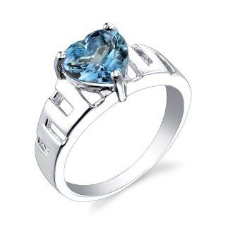 Sterling Silver Rhodium Nickel Finish 2.25 cts Heart Shape London Blue Topaz Ring Size 7 Promise Rings Jewelry