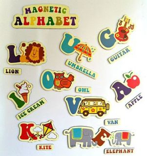 retro alphabet fridge magnet set by the little picture company