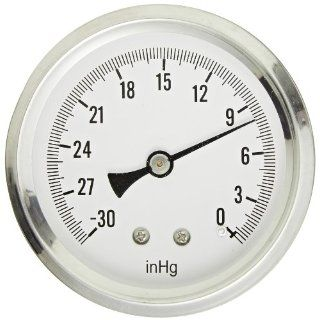 "PIC Gauge S202L 254A Glycerin Filled Industrial Center Back Mount Pressure Gauge with Stainless Steel Case, Brass Internals, Plastic Lens, Single Scale, 2 1/2"" Dial Size, 1/4"" Male NPT Connection Size, 30""/0 hg Vac psi Range Industrial &"