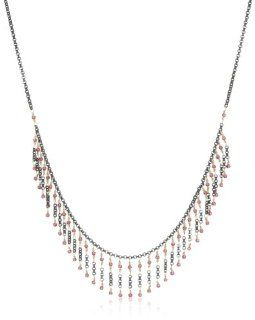 Dana Kellin Dark Silver with Indian Pink Crystal Accents and Gold Short Fringe Necklace Jewelry