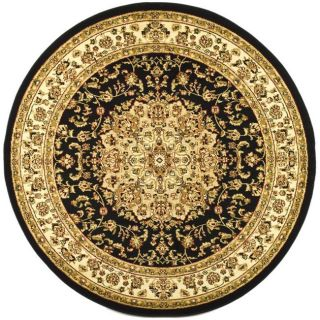 Large Lyndhurst Collection Black/ivory Rug (8 Round)