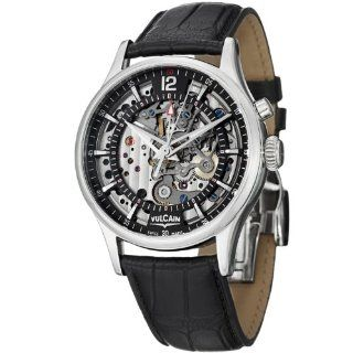 Vulcain Golden Heart Men's Skeleton Black Leather Strap Mechanical Alarm Watch 180122.260LF Vulcain Watches