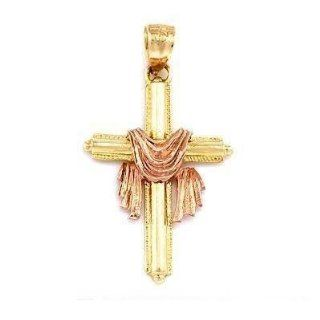 Cross & Shroud Charm 14k Two Tone Gold 28mm Jewelry