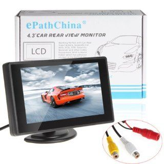 ePathChina� 4.3 Inch Digital TFT LCD Color Display 2 Video Input Car Rear View Monitor Mini DVD VCR Car Monitor With Reversing Camera Support Car DVD VCD STB Satellite Receiver and Other Video Equipment  Vehicle Overhead Video