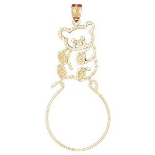 14K Yellow Gold Teddy Bear Charm Holder Pendant Jewelry