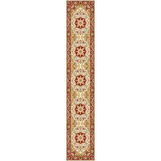 Lyndhurst Collection Ivory/ Red Runner Rug (23 X 14)
