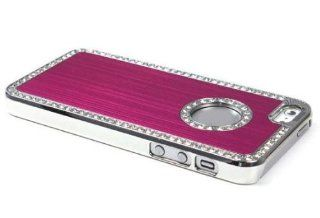 The Hot Pink Luxury Bling Aluminum Brush Hard Back Case Cover for Apple Iphone 5 5g 5th Cell Phones & Accessories