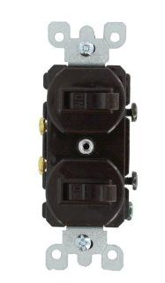 Leviton 5334 20 Amp, 120/277 Volt, Duplex Style Single Pole / Single Pole AC Combination Switch, Commercial Grade, Brown   Wall Light Switches