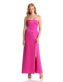 BCBGMAXAZRIA Women's Claudine Strapless Blocked Gown, Bright Berry, 6