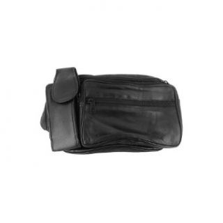 MW305 BK Lambskin Leather Black Fanny Pack with Cell Phone Pouch Clothing