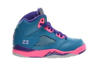 Jordan 5 Retro (PS) Little Kids Basketball Shoes Tropical Teal/White Digital Pink Court Purple 440893 307 Shoes