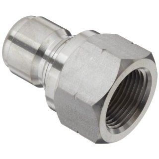 "Dixon STFP6SS Stainless Steel 303 Hydraulic Quick Connect Fitting, Plug, 3/4"" Female Coupling, 3/4"" 14 Straight Thread Quick Connect Hose Fittings"