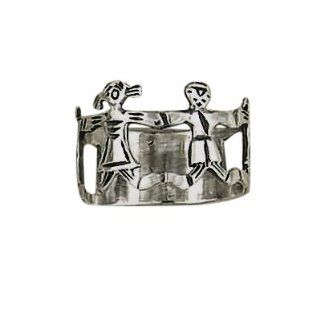 Sterling Silver Children Holding Hands Ring Women's Men's Jewelry (8) Jewelry