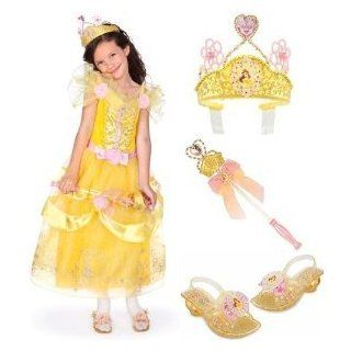 Deluxe Princess Belle Costume Gift Set Including Dress (Size Small 5/6), Light Up Shoes (Size 11/12), Light Up Wand and Tiara Clothing