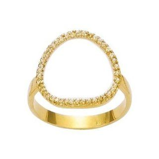 So Chic Jewels   18K Gold Plated Clear Cubic Zirconia Circle Band Ring Class Rings Jewelry