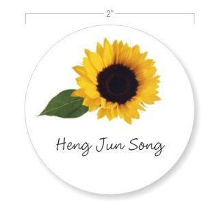 Personalized Gift Tag Stickers / Bold Sunflower / Envelope Seals / Thank You Stickers / 2 in. Diameter / 100 Count / Flat Printed  Labels