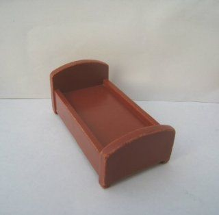 VINTAGE FISHER PRICE LITTLE PEOPLE DOLLHOUSE FURNITURE BROWN BED