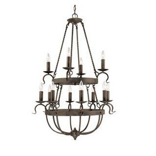 Blacksmith Tavern   12 Light Colonial Chandelier Lighting Fixture   Crackled Black   B4963