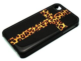 BLACK Snap On Case iPhone 4 4S Plastic   Cross with Leopard Print Black Cheetah Cell Phones & Accessories