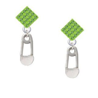 2 Sided Clear Frosted Baby Safety Pin Light Green Crystal Diamond Shaped Lulu Jewelry
