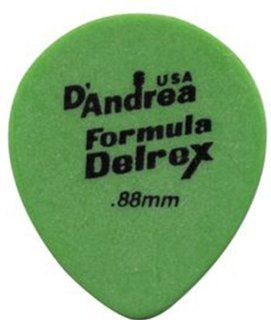 D'Andrea TD347, 0.88MH Delrex Guitar Picks, 12 Piece, Green, 0.88mm, Medium Heavy Musical Instruments