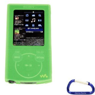 Premium Green Silicone Skin Case Cover with Free Carabiner Key Chain for the Sony Walkman E Series (NWZ E344, NWZ E345)  Player Cell Phones & Accessories