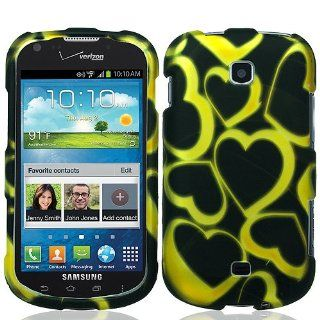 Black Yellow Heart Hard Cover Case for Samsung Galaxy Stellar SCH i200 Cell Phones & Accessories