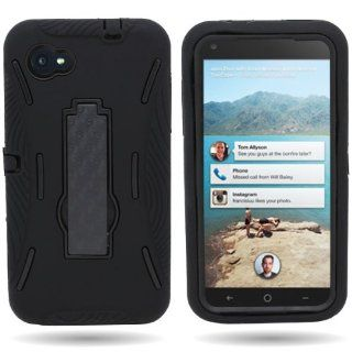 CoverON� HYBRID Dual Heavy Duty Hard BLACK Case and Soft BLACK Silicone Skin Cover with Kickstand for HTC FIRST [WCP374] Cell Phones & Accessories