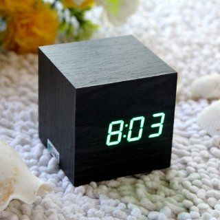 EiioX Cube Mini Green LED Black Skin Wooden Alarm Clock With Thermometer Time Display Vioce Activated   Electronic Alarm Clocks