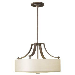 Murray Feiss F2404/3CB Sunset Drive Collection 3 Light Pendant, Corinthian Bronze Finish with Striated Pearl Glass Shade   Ceiling Pendant Fixtures