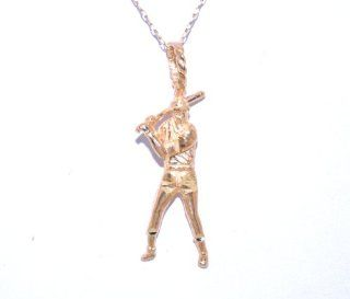 14K Yellow Gold Baseball Player Charm Jewelry