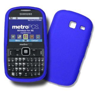 Samsung Freeform 3, Samsung R380, SCH R380 BLUE Silicone Case, Rubber Skin Cover, Soft Jelly Housing Cell Phones & Accessories