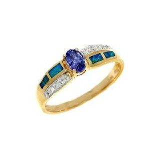 Tanzanite 14K Yellow Gold Tanzanite Diamond & Opal Inlay Ring .45 TCW Jewelry
