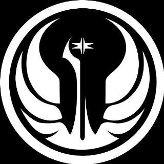 "(2x) 5"" STAR WARS Galactic Republic Symbol Logo   WHITE IKON SIGN EXCLUSIVE   Vinyl Decal Sticker   NOTEBOOK, LAPTOP, IPAD, WINDOW, WALL, CAR, TRUCK, MOTORCYCLE   Wall Decor Stickers"