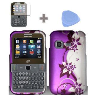 Rubberized Purple Silver Vines flower Snap on Design Case Hard Case Skin Cover Faceplate with Screen Protector and Case Opener for Samsung S390g   StraightTalk/Net 10/Tracfone Cell Phones & Accessories