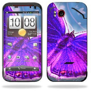 Protective Vinyl Skin Decal Cover for HTC Rezound 4G LTE Verizon Cell Phone Sticker Skins Violet Butterfly Cell Phones & Accessories