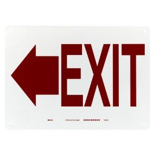 "Brady 22458 10"" Height, 14"" Width, B 401 Plastic, Red On White Color Exit And Directional Sign, Legend ""(Left Arrow Picto) Exit"" Industrial Warning Signs"