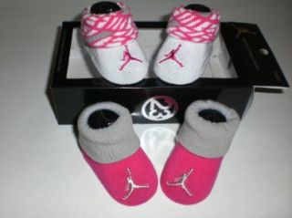 Nike Air Jordan Newborn Infant Baby Booties White and Pink W/classic Jordan Air Jumpman Logo, Size 0 6 Months Shoes