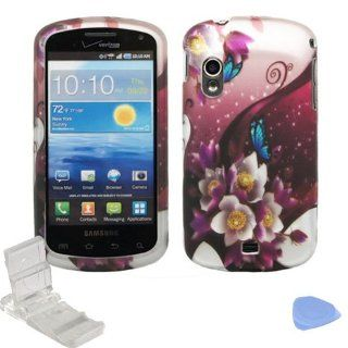 White Purple Rose Flower Garden Blue Butterfly Design Rubberized Snap on Hard Shell Cover Protector Faceplate Skin Case + LCD Screen Guard Film + Mini Phone Stand + Case Opener for Verizon Samsung Stratosphere i405 (1st Generation) Cell Phones & Acces