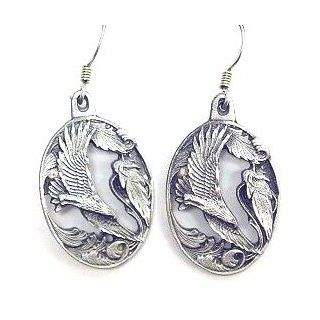 Native American Indian Inspired Flying Eagle Silver Tone Dangle Earrings Women's Jewelry Jewelry