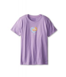 Life is good Kids Heart Waves Crusher Tee Girls Short Sleeve Pullover (Purple)