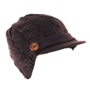 IC9107A_BROWN Womens Hand Made Cable Knitted Short Hard Visor Trendy 2inch Visor Cab Driver Newsboy Hat with Side Wooden Buttons available in Knitted black, brown, white, gray, teal, burgundy and knitted mustard yellow Clothing