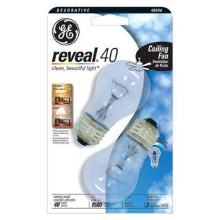 GE Reveal 40 Watt Ceiling Fan Bulb 2 pk.