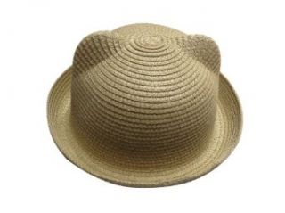 JTC Girl Kids Sun Hat Summer Camp Bowler Ear Beach Cap Visor Prop Outfit 11Colors (Beige) Clothing